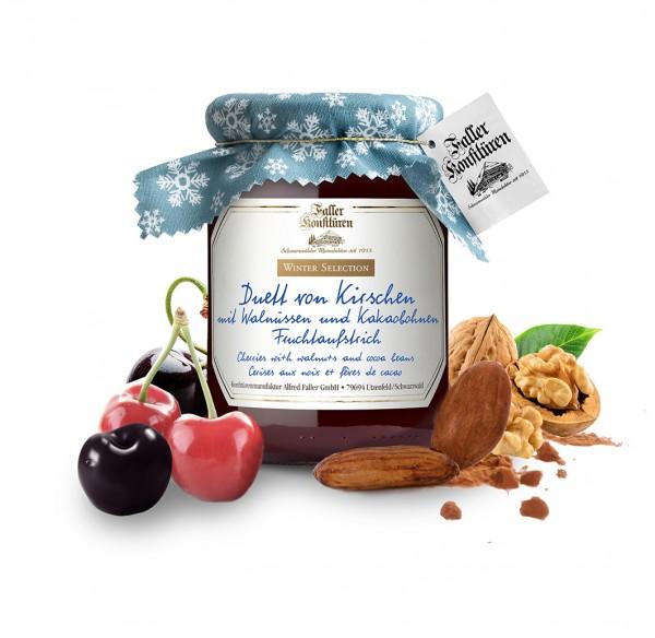 Die neue Saisonsorte Kirsche mit Walnüssen und Kakaobohnen von Faller (Bildrechte/Urheber: Konfitürenmanufaktur Alfred Faller GmbH)