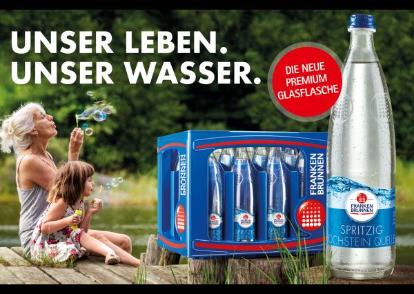 Die neue Premium Glasflasche (Bildrechte/Urheber: FRANKEN BRUNNEN)