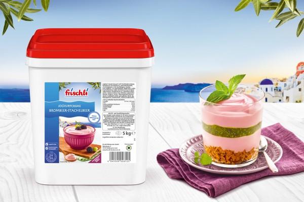Saisondessert Grichische Joghurtcreme Brombeer-Stachelbeer (Bildrechte/Urheber: frischli Milchwerke)